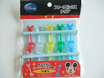 Disney Mickey Mouse Kawaii Clear Food Fork Picks Japanese Bento Accessories
