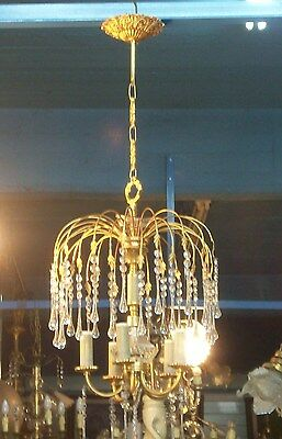 Antique  original gilt ormolu bronze and crystal drop chandelier 5 lights • CAD $630.00