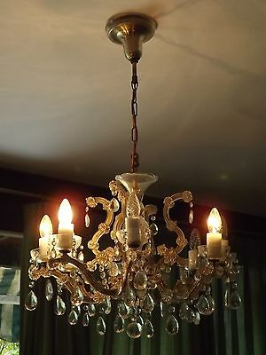 Vintage Elegant European Crystal Glass And Bronze 8 Lights Chandelier