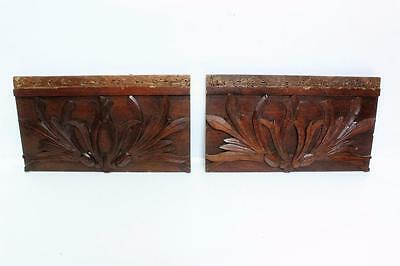 2 Antique Furniture Pediment Panel~Settee Part Lot~Eastlake~Hand Carved Mahogany