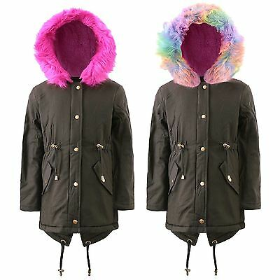 Girls Kids Back School Pink Rainbow Faux Fur Hooded Fluffy Padded Parka Coat Age