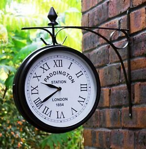 Paddington Station Weather Resistant Double Sided Garden Outdoor Wall Clock - 26