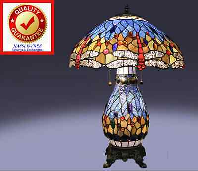 Tiffany Style Stained Glass Table Lamp w/ Red Dragonfly & Blue Handcrafted Shade