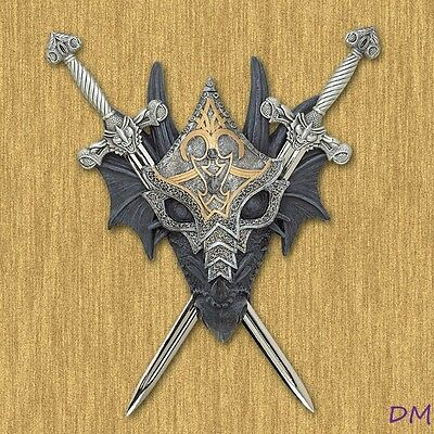 Armored Dragon Wall Crest Removable Pewter Swords