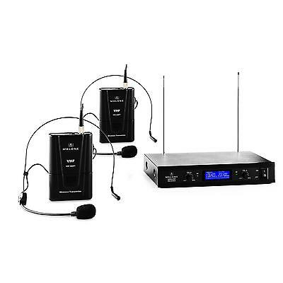Noise Reduction Wireless Microphone Headset Vhf Dj 2 Mic System Reciever New