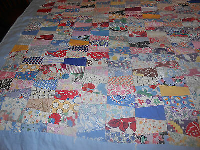 """Hand Pieced Youth Quilt / Fabulous Feed Bag Prints, """"fall Quilt Sale Item"""" C1930"""