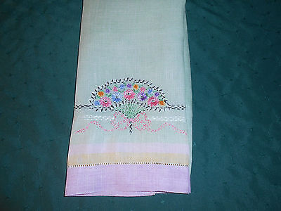 Green Linen Towel With Fabulous French Knot Hand Embroidery, Vintage 1930