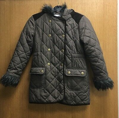 Girls TU Brown Quilted Style Winter School Coat Age 7-8 Years Free Post