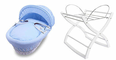 Brand new Izziwotnot white wicker moses basket blue gift and white rocking stand