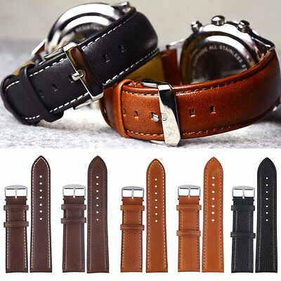 Mens Genuine Leather Watch Strap Band Croco RM S.Steel Buckle and Spring Bars UK
