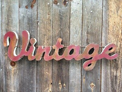 "Metal Large  Sign ""Vintage"" Retro  Smokey Red w Rusty Patina- Industrial-"