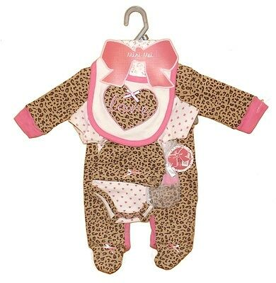 Funky 5 Piece Baby Girls Leopard Print Layette Clothing Gift Set by Mini Moi