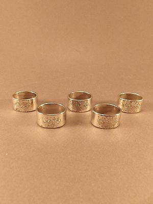 Antique Vintage Silver Plated Napkin Rings Holders Lot Set of 5 Engraved