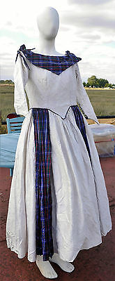 Victorian style woman's dress costume dickens white and tartan with matching hat
