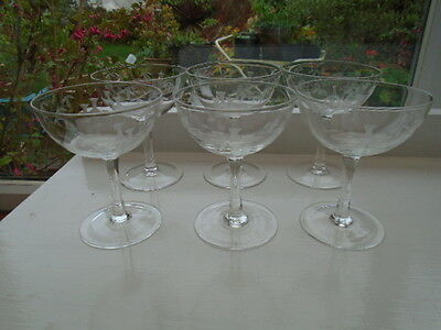 20's SET OF SIX  EDWARDIAN BAMBOO ETCHED  CHAMPAGNE SAUCERS COUPES