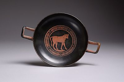 Ancient Greek Red-Figure Pottery Bull Kylix - 350 BC
