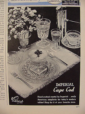 1950 Imperial Cape Cod Table Setting plus Cigarette Holder Print Ad