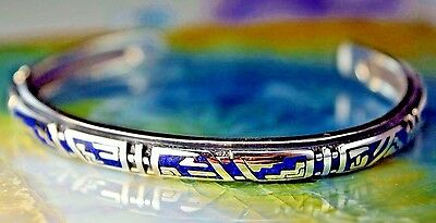 Sterling Sterling silver Mayan design cuff style Bracelet w crushed Lapis Lazuli