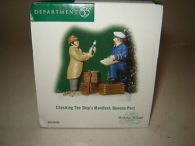 Dept 56 Dickens Village - Checking The Ship's Manifest, Queens Port - NIB
