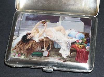 Antique Sterling Silver Enameled Hand Painted Erotic Scene Cigarette Case Box