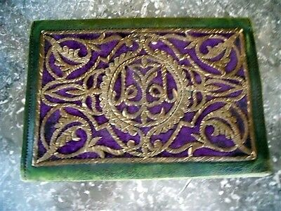 Antique Ottoman   Leather  Purse Bourse Metallic  Embroidery