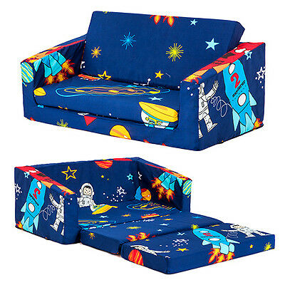 Space Boy Kids Flip Out 'Lily' Sofa Bed Sleep Over Fold Out Children's Furniture
