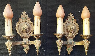 Vintage  Art Deco Cast Iron Wall Sconces Lapco Double Lighting Fixtures Pair