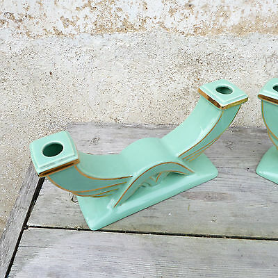 Antique 1930 FRench Art deco celadon & gold ceramica pair of candle holders