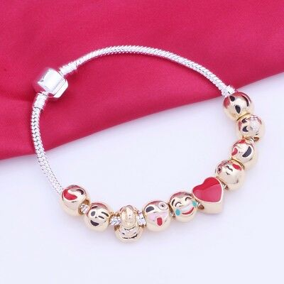 Emoji Charm Bracelet with 10 Gold Plated Charm Beads - European Style 20cm