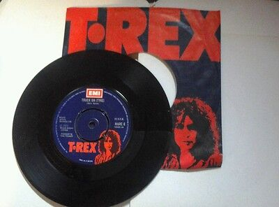 """T-Rex - Truck On(Tyke)/Sitting Here - 7"""" P/S Single - MARC 6 - 4 PRONG CENTRE"""