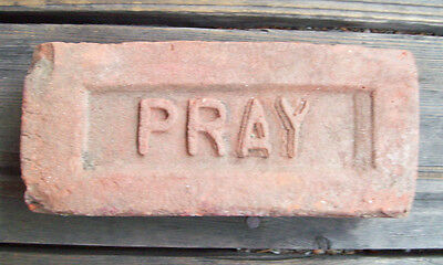 "ANTIQUE ""PRAY"" BRICK  New England GREENFIELD MA  Brickyard (Red Clay) ~LOT A~"