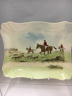 Royal Doulton Dish with hunting scene - ACROSS THE MOOR - Signed Charles Simpson