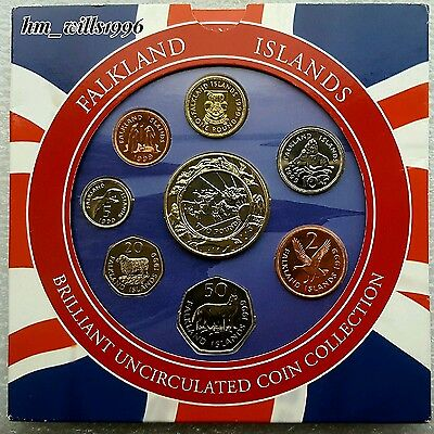 1999 Falklands Islands Coin Set Royal Mint Pack Including Rare Large £2 BU