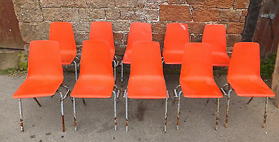 JOB LOT Of 12 RED Plastic & METAL Stackable CHAIRS Canteen SCHOOL Stacking PROP