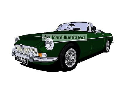 Mgc Roadster Car Art Print Picture (Size A4). Personalise It!