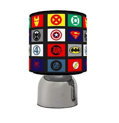 Superhero Logos Superman Batman Spidy Touch Table Bedside Lamp Kids Room