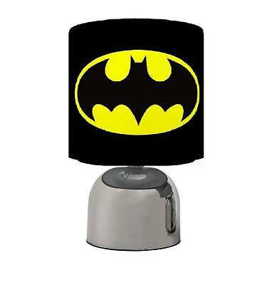 Batman Logos  Touch Table Bedside Lamp Black Grey Kids Room