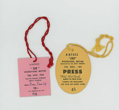 Aintree  Motor Racing Tickets Passes 1960 & 1963