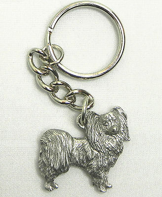 Papillon Dog Keychain Keyring Harris Pewter Made USA Key Chain Ring