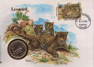 Afghanistan 1989 WWF Coin Cover Snow Leopard