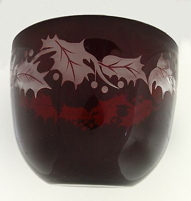 """Vtg Christmas Bowl Cranberry Glass Cut to Clear Holly Motif 6.25"""" Diameter"""