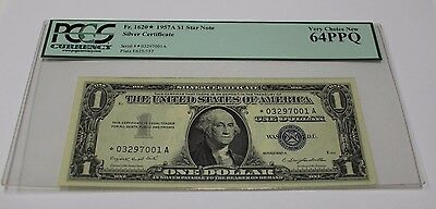 1957 A One Dollar Star Note $ 1 Silver Certificate PCGS Graded 64 PPQ V Ch New