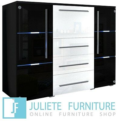 Glass door Chest of drawers Dresser WHITE / BLACK HIGH GLOSS LED FREE DELIVERY
