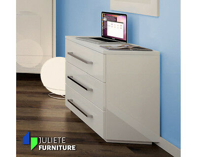 Modern Sideboard Cabinet Cupboard Chest of drawers / WHITE HIGH GLOSS - Agnes 6