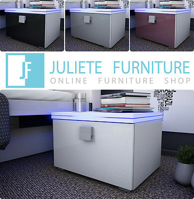 Bedside Table Night Stand___Juliet 7__BLACK or WHITE__HIGH GLOSS with LED___HQ