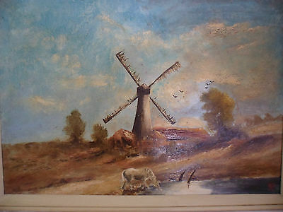 Antique Vintage Old Landscape Oil Painting On Board Dutch Wind Mill White Horse