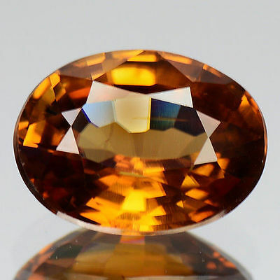 1.66Cts - Natural, Fire Brown Zircon, Oval, VS, Cambodia, 1Pcs