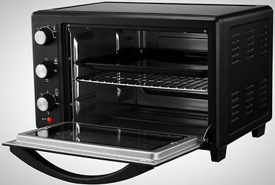 30L Mini Oven With Wire Grill Rack Baking Tray and Tray Handle Stainless Steel