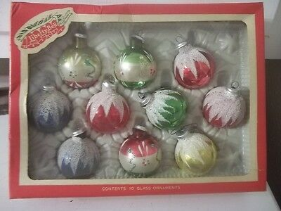 Vintage Christmas Liberty Bell Glass Ball Ornaments Estate Find Original Box