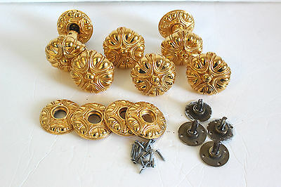 Gilt Ormolu French Style Door Knobs Vintage Made in Spain 6 with Backplates